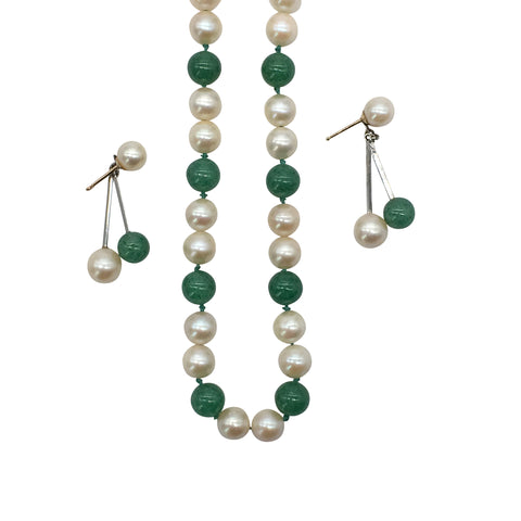 Vintage Pearl and Aventurine Necklace and Earring Set - Silverscape Designs