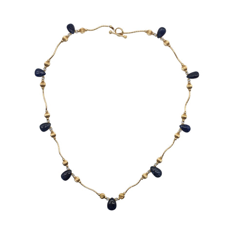 "Beaded Sapphire and Quartz 14k and 18k Yellow Gold 17"" Necklace"