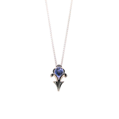 Keith Harding Light Blue Sapphire Scroll Detail 14k White Gold Necklace