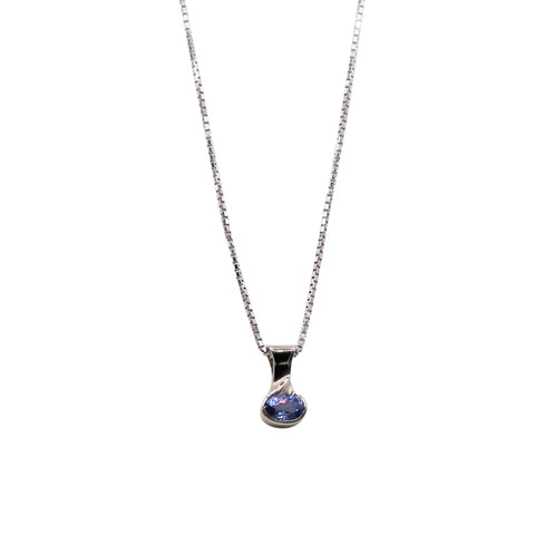 East-West Oval Sapphire White Gold Necklace - Silverscape Designs