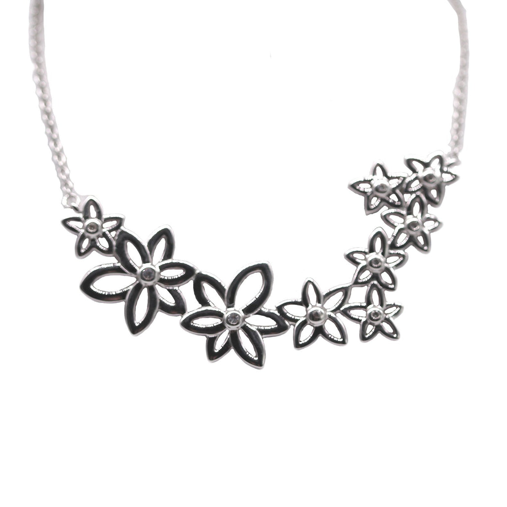 White Sapphire Flower Necklace - Silverscape Designs