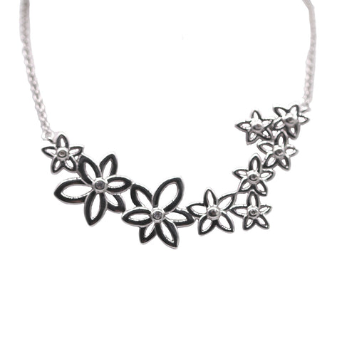 Breuning Sterling Silver White Sapphire Flower Necklace