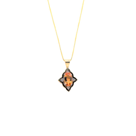 Large Oval Gold Topaz and Diamond Yellow Gold and Platinum Necklace - Silverscape Designs