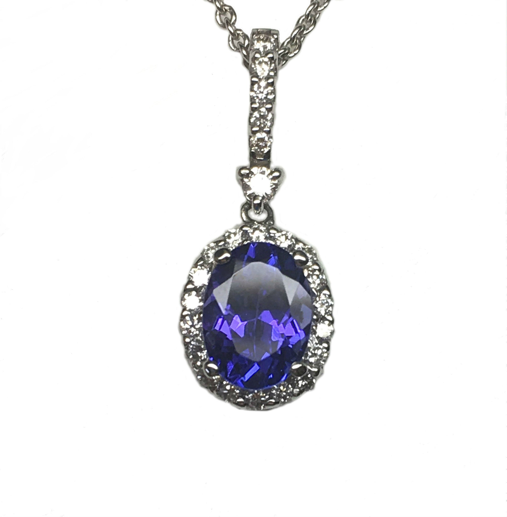 tanzanite pendant in diamond necklace white gold oval with
