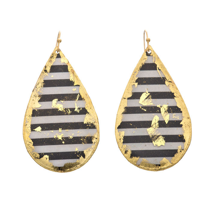 Evocateur Black and White Stripe Teardrop Earrings