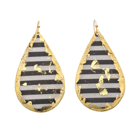 Evocateur Black and White Stripe Teardrop Earrings - Silverscape Designs