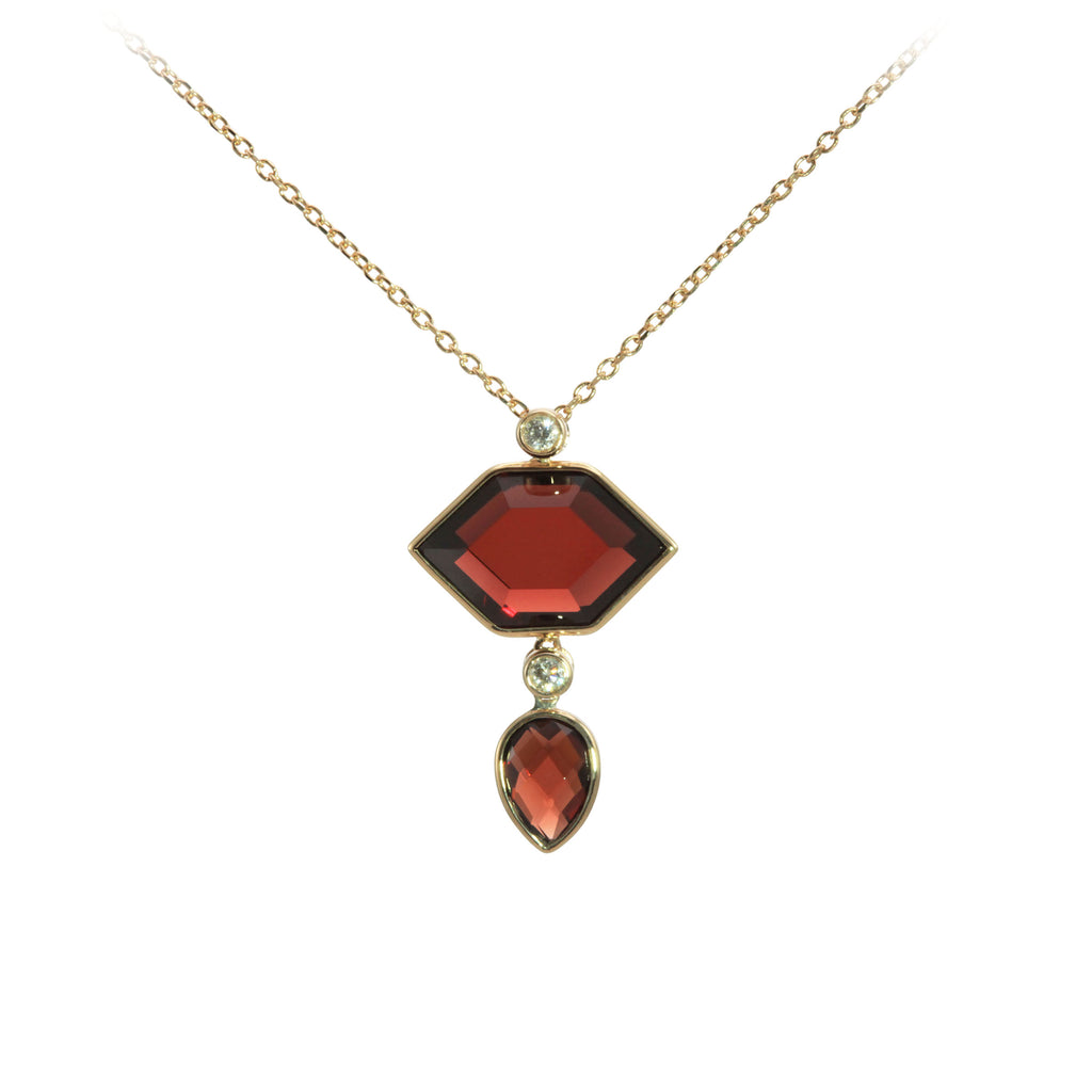 Hexagon and Pear Shaped Garnet and Diamond Yellow Gold Necklace