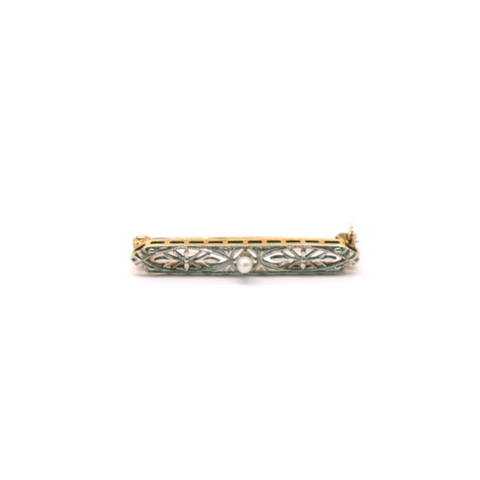 Estate Krementz Pearl Brooch - Silverscape Designs