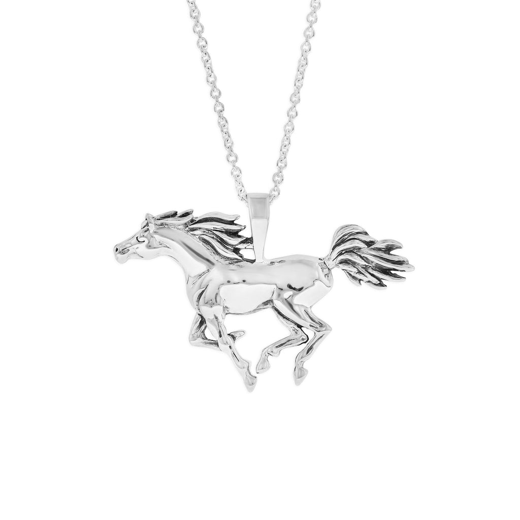 Sterling Silver Galloping Arabian Necklace
