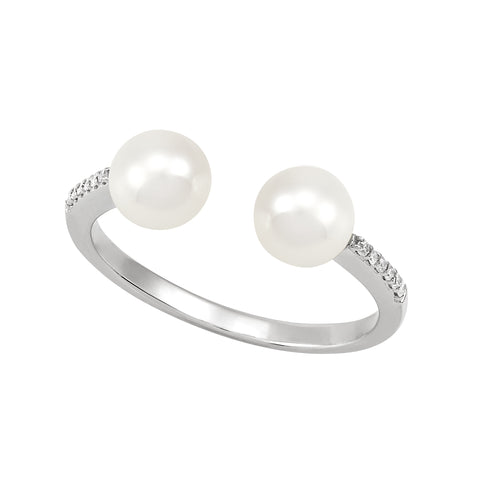 Honora 5.5-6mm White Pearl and Diamond White Gold Ring