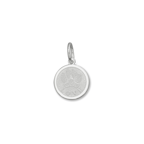 White Paw Print Pendant in Sterling Silver 15mm