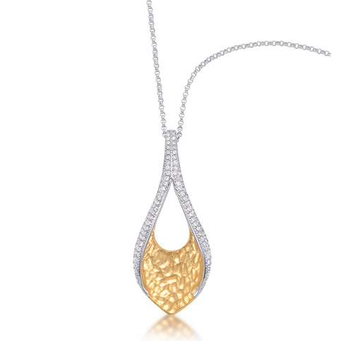 PeJay Creations Ashley Boutique Collection Pave Diamond 18k Yellow and White Gold Pendant