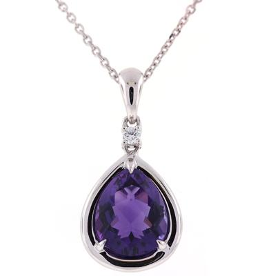 PeJat Creations 2.75 carat pear shaped Amethyst and .04 carat accent Diamond 14k White Gold Necklace