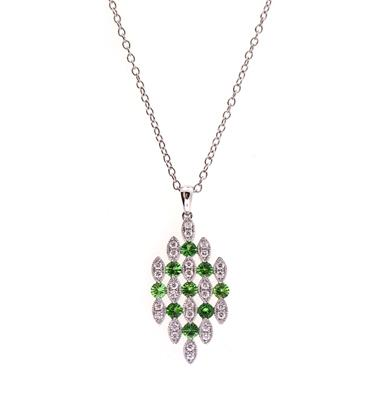 PeJay Creations .90 TCW Emerald and .33 TCW Diamond 14k White Gold Lace Necklace
