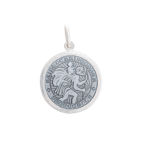 Pewter St. Christopher Pendant in Sterling Silver - Silverscape Designs