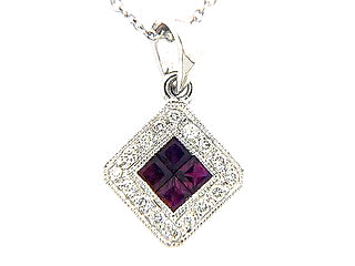 Ruby with Diamond Halo Geometric Necklace in White Gold - Silverscape Designs