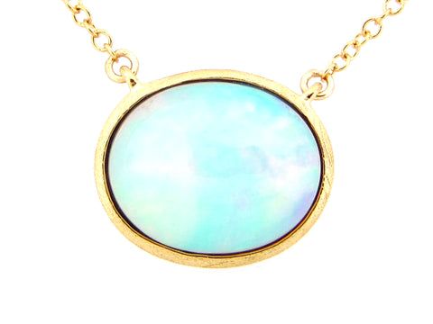 Opal Yellow Gold Satin Finish Necklace - Silverscape Designs