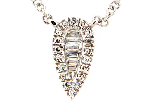Diamond Pear Shaped White Gold Pendant Necklace