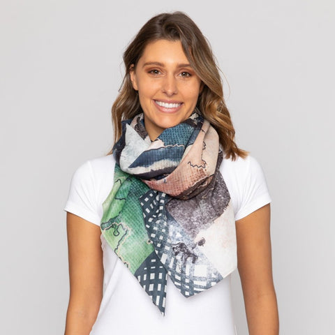 Dog and Boy Designs Perception Silk and Cotton Scarf