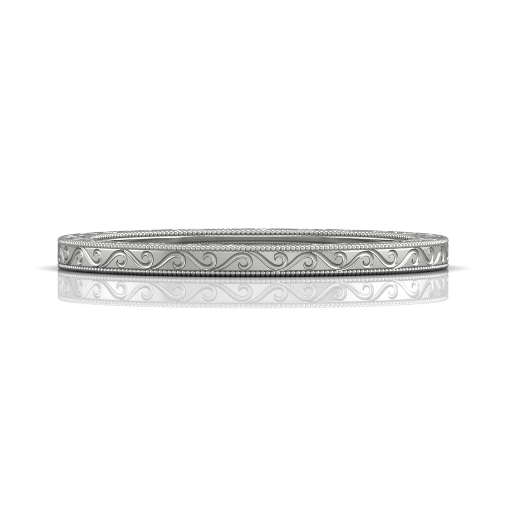 Vintage Inspired Wedding Band Hand Engraved White Gold