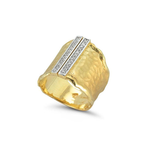14 Karat Yellow Gold Diamond Gallery Ring