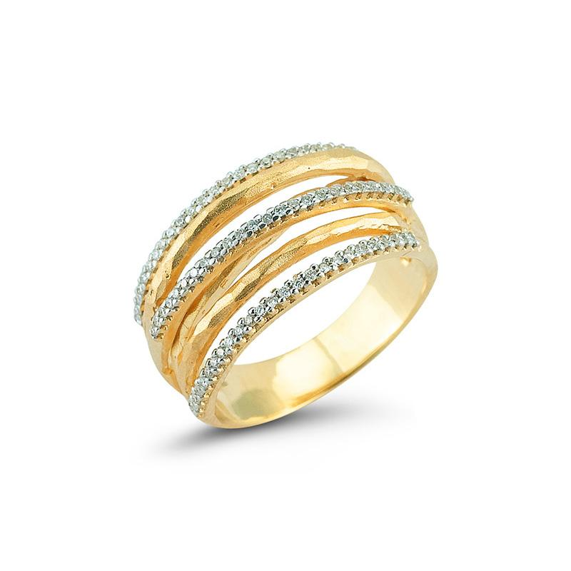 Yellow Gold Seven Band Diamond Ring - Silverscape Designs