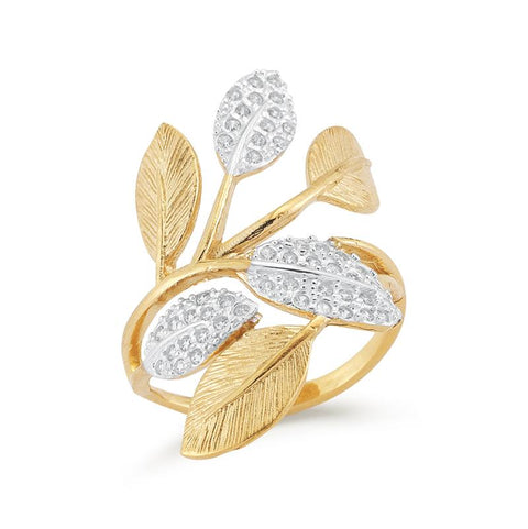 14 Karat Yellow Gold and Diamond Branch Ring - Silverscape Designs