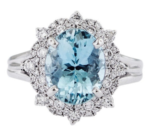 Oval Aquamarine and Diamond White Gold Ring - Silverscape Designs