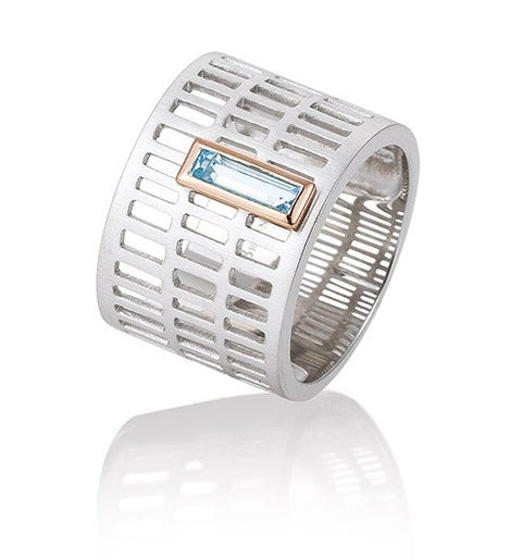 Breuning Sterling Silver and Rectangular Blue Topaz Ring