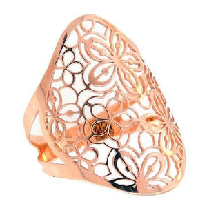 Flower-Detailed Ring, Rose Gold