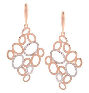 Oval-Detailed Earrings, Two Toned