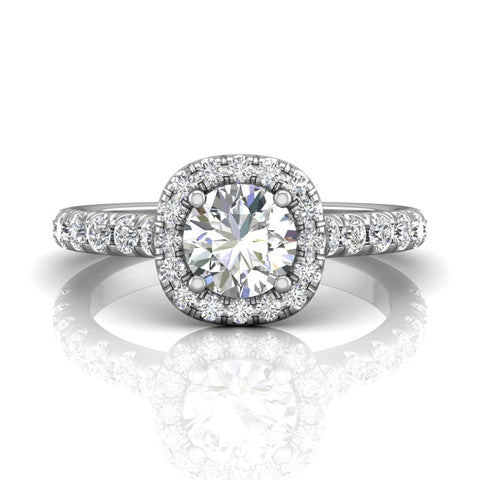 Martin Flyer Cushion Cut Diamond Halo Engagement Ring - Silverscape Designs