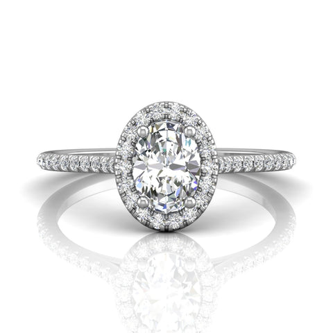 Martin Flyer Oval Diamond Halo Engagement Ring - Silverscape Designs