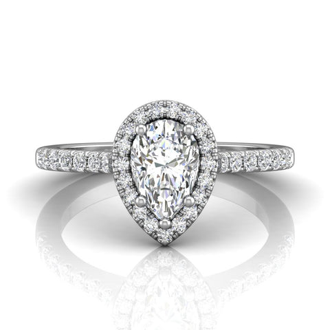 Martin Flyer Pear Shaped Halo Engagement Ring - Silverscape Designs