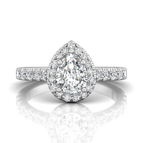 Martin Flyer 14k White Gold Pear Shaped Halo Engagement Ring - Silverscape Designs