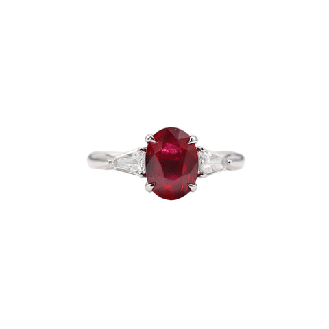 Marting Flyer Ruby and Diamond Platinum Ring - Silverscape Designs