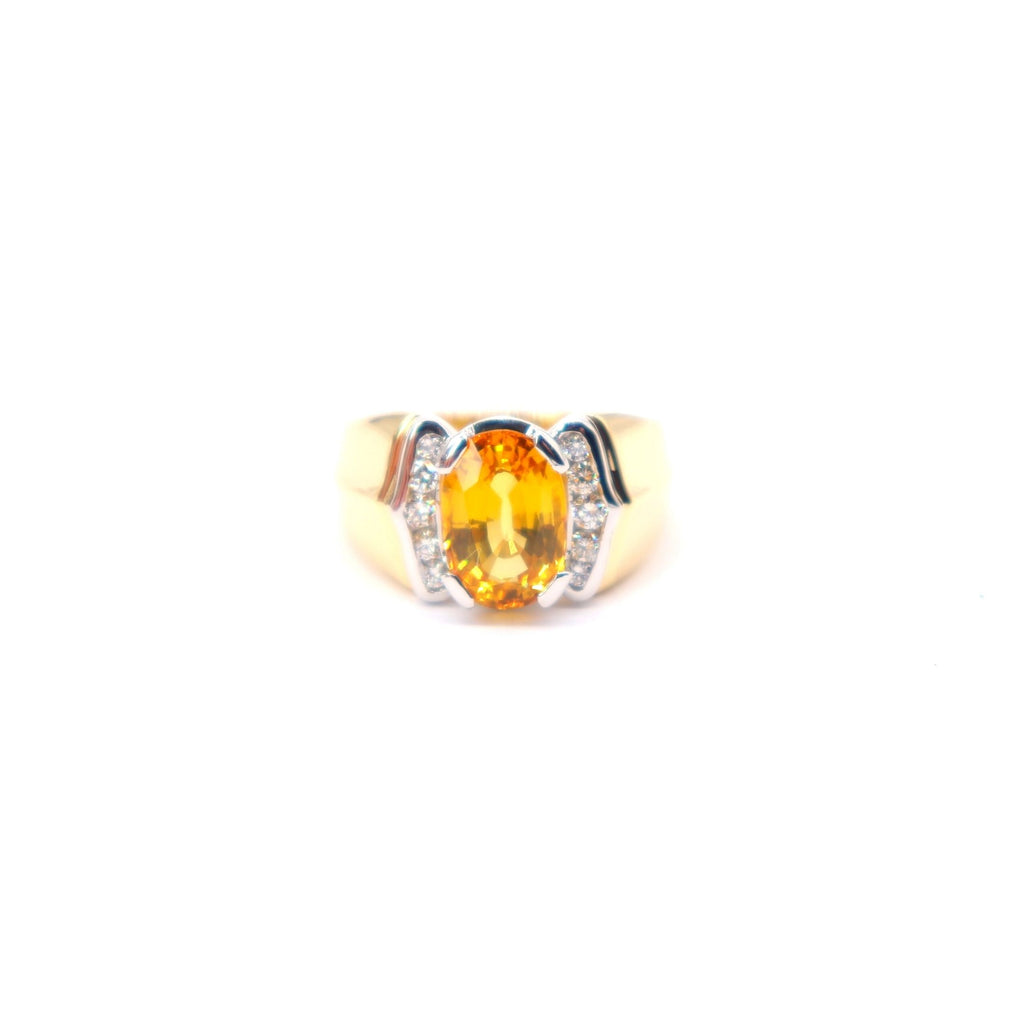 RARE Yellow Sapphire Estate Ring in 18K Yellow Gold and Platinum - Silverscape Designs