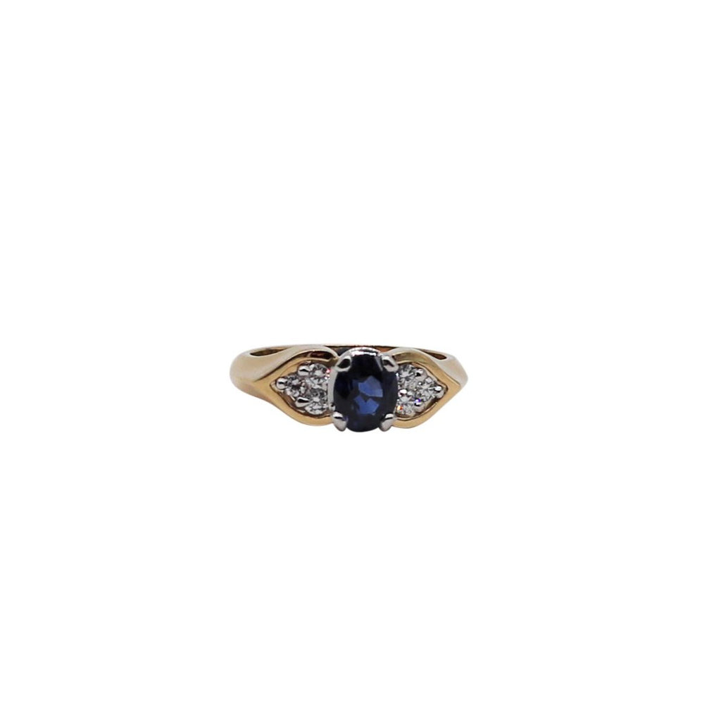 Oval Sapphire and Diamond Yellow Gold and Platinum Ring - Silverscape Designs