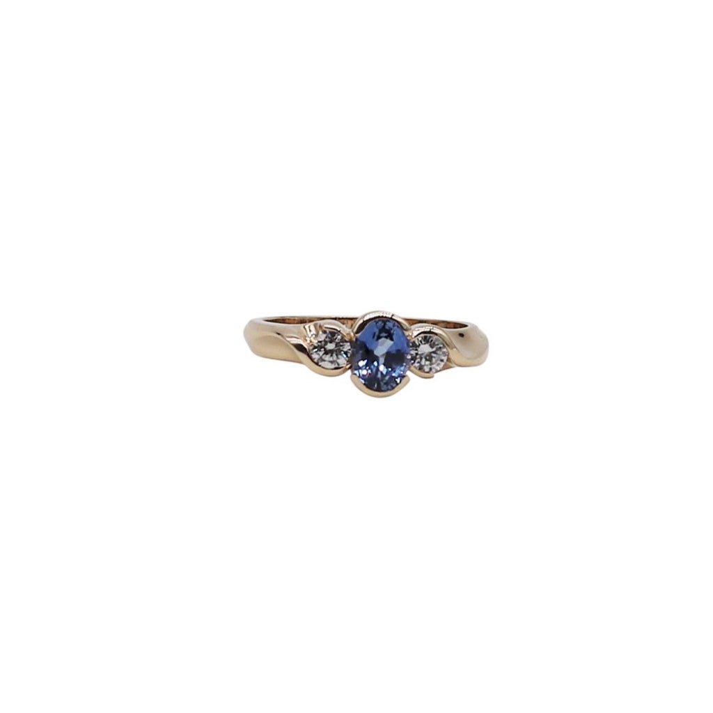 Blue Oval Sapphire and Diamond White Gold Ring - Silverscape Designs