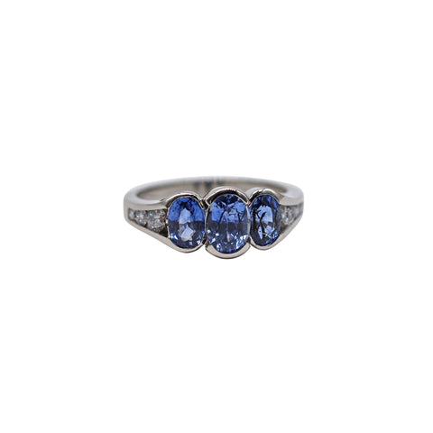 Trio Oval Sapphire and Diamond White Gold Ring - Silverscape Designs