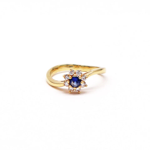 Estate Wavy Sapphire and Diamond Flower Ring - Silverscape Designs