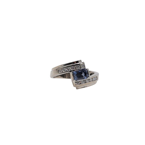 Unique Sapphire and Diamond White Gold Ring - Silverscape Designs