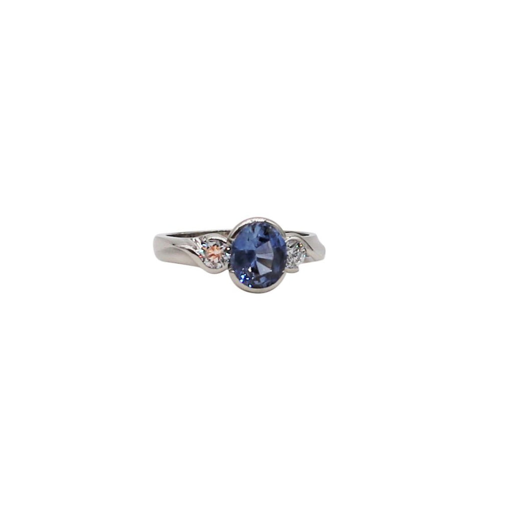 Cornflower Blue Sapphire and Diamond White Gold Ring - Silverscape Designs
