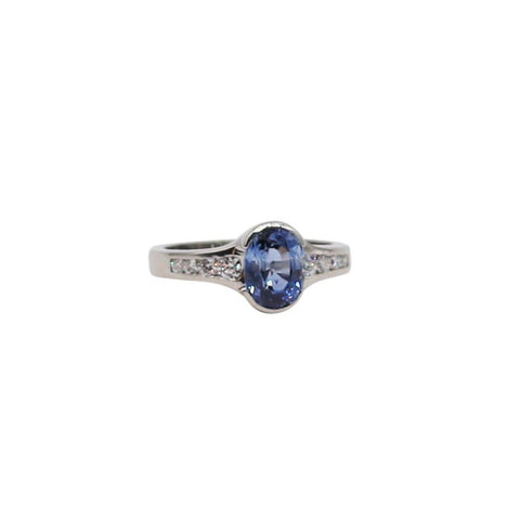 Light Blue Oval Sapphire and Diamond White Gold Ring - Silverscape Designs