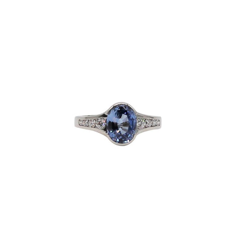 Large Light Blue Sapphire and Diamond White Gold Ring - Silverscape Designs