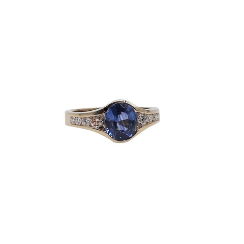 Large Blue Oval Sapphire and Diamond Yellow Gold Ring - Silverscape Designs