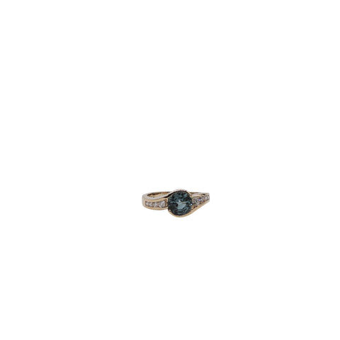 Sapphire and Diamond Yellow Gold Ring - Silverscape Designs