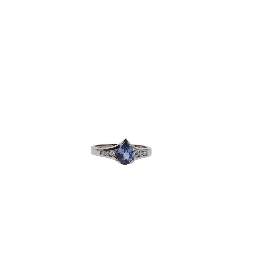 Blue Pear Sapphire and Diamond White Gold Ring - Silverscape Designs