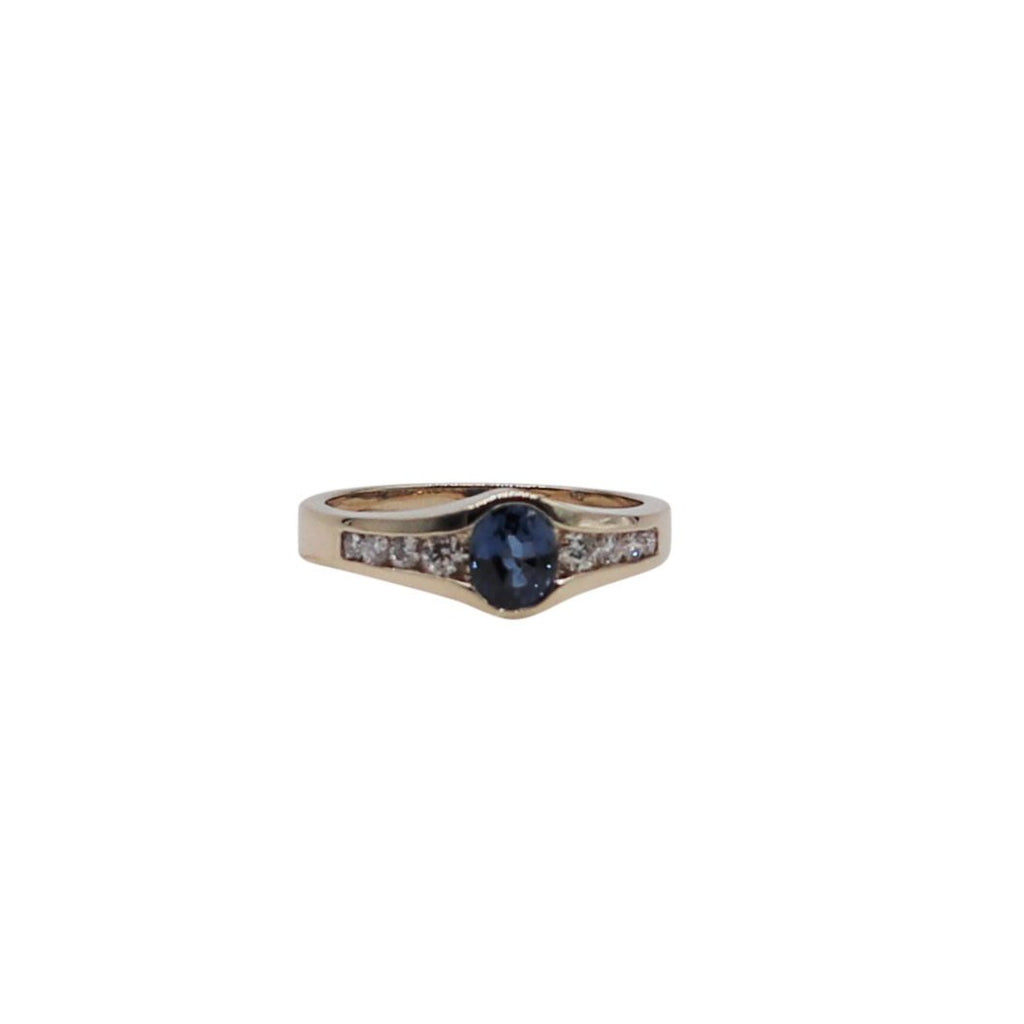 Deep Blue Sapphire and Diamond Yellow Gold Ring - Silverscape Designs