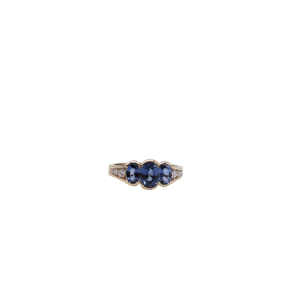 Trio Oval Sapphire and Diamond Yellow Gold Ring - Silverscape Designs